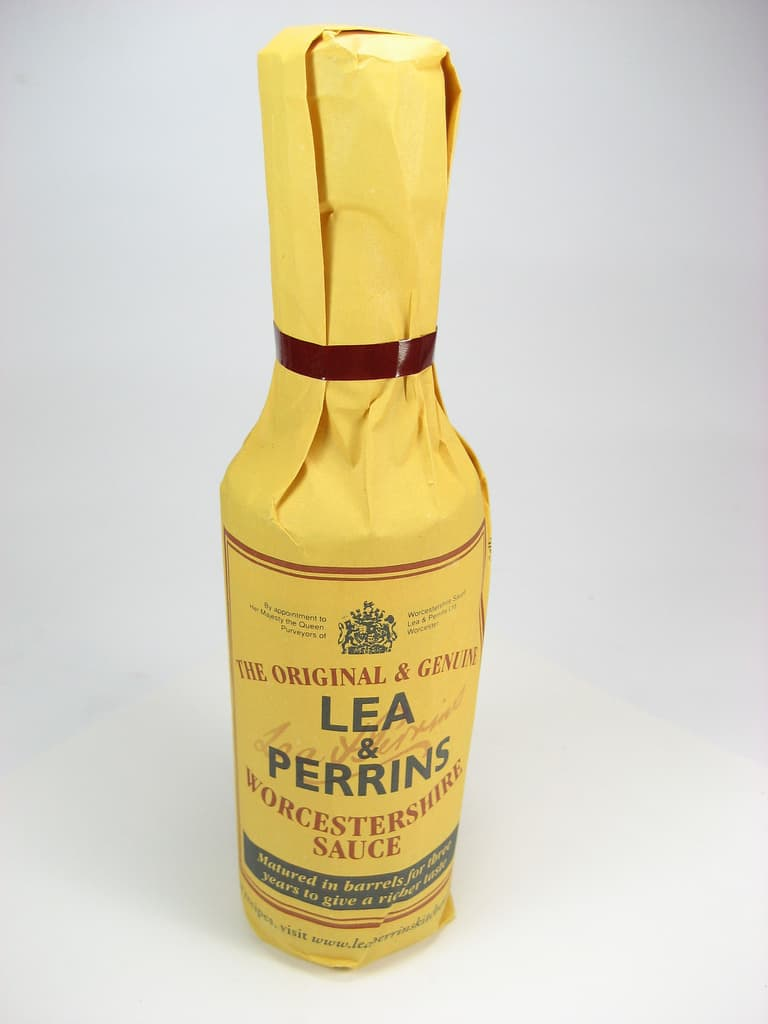 A bottle of Lea and Perrins Worcestershire sauce