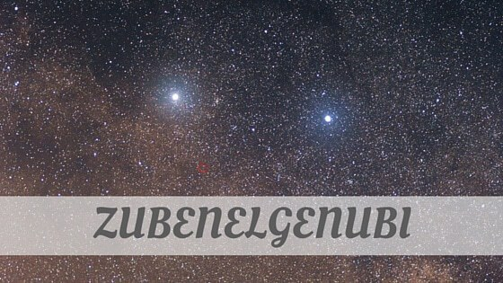 How To Say Zubenelgenubi