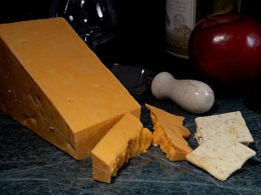 Leicester cheese block with crackers