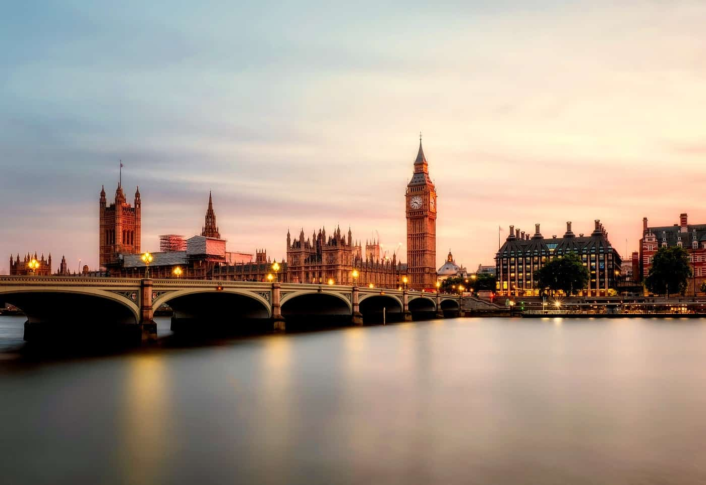 The Thames River and Houses of Parliament and Big Ben in London